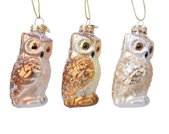 Christmas tree decoration owl glass 8.8 cm, 1 piece assorted