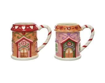 Cup gingerbread house ceramic 11 cm light brown / pink, 1 piece sorted