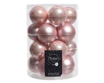 Christmas balls glass 6 cm pink, 20 pieces