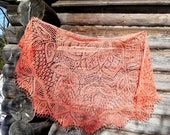 Large openwork shawl, pink coral color, made of natural wool, a chic gift for a lady, a gift for mother 39 s day