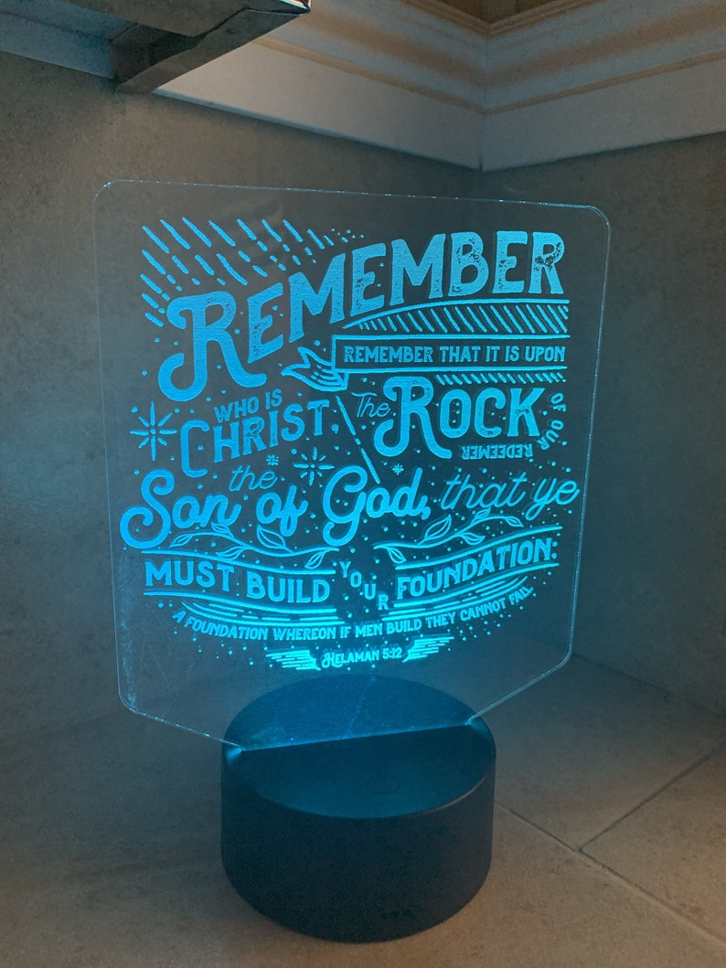 Rock of Our Redeemer Helaman 5:12 LED Night Light image 0