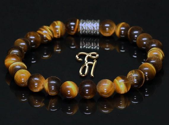 Tigerauge braun matt Armband Bracelet Perlenarmband goldfarbener Löwenkopf