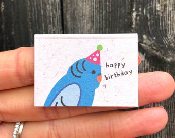 Tiny Budgie Birthday Card, Miniature Birthday Card, Cute Budgie Birthday Card, Birthday Card For Her, Mini Birthday Card