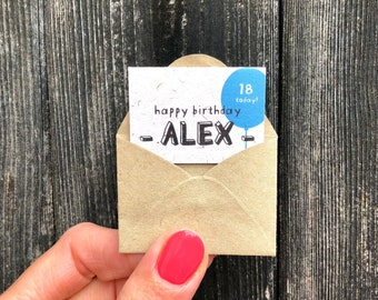 Tiny Personalised Birthday Card, Miniature Birthday Card For Him, Tiniest Smallest Birthday Card, Custom Age and Name Birthday Card