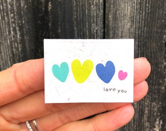 Tiny Love Card, I Love You Greeting Card, Miniature Love Card, Recycled Card