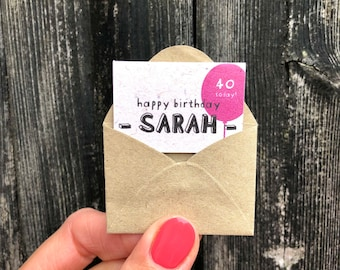 Tiny Personalised Birthday Card, Miniature Friend Birthday Card, Tiniest Sister Birthday Card, Custom Age and Name Birthday Card