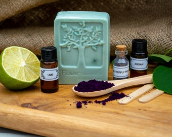 Eco Friendly Soap Making Kit Lime, Argan Oil & Butterfly Pea. SLS/SLES Free. Cruelty Free Gift Ideas.