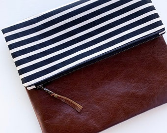 Black and Cream Stripe with Brown Leather, Foldover Clutch
