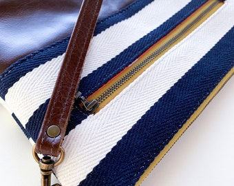 Navy and Cream with Brown Leather, Diaper/Wipe Wristlet