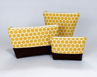Yellow Dot Cosmetic Bag with Brown Leather