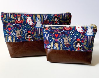 Alice Cosmetic Bag, Rifle Paper Co with Brown Leather