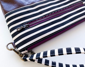 Black and Cream Stripe with Brown Leather, Diaper/Wipe Wristlet