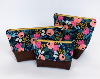 Navy Rifle Paper Co Cosmetic Bag with Brown Leather