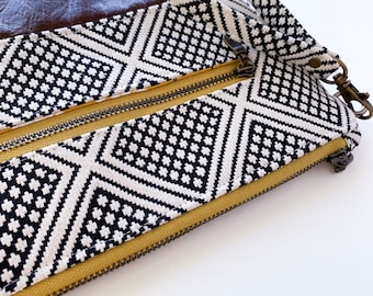 Black and Cream Diamond with Brown Leather, Diaper/Wipe Wristlet
