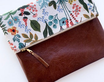Amalfi Herb Garden Rifle Paper Co with Brown Leather, Foldover Clutch