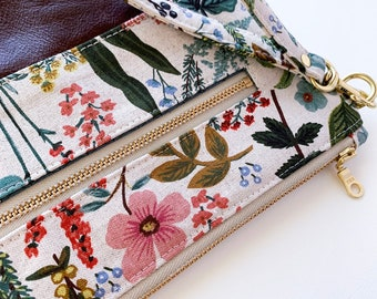 Amalfi Herb Garden Rifle Paper Co with Brown Leather, Diaper/Wipe Wristlet