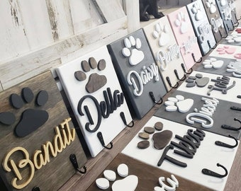 3D wood 8x6 Personalized Pet Dog Leash Sign Holder Paw name Front door Entry way Mud Room Decor dog bowls
