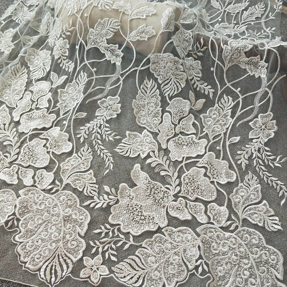Floral Lace for Wedding Bridal Dress New Design Lace French Lingerie Veil Tulle Lace by The Yard Embroidery Lace Fabric