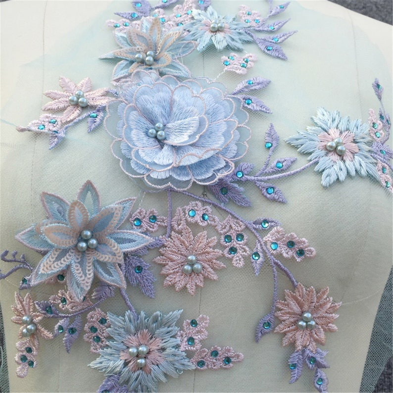 gown dress lace applique 5 colors New style 3D Lace patch wedding dress flower lace applique bridal dress lace applique