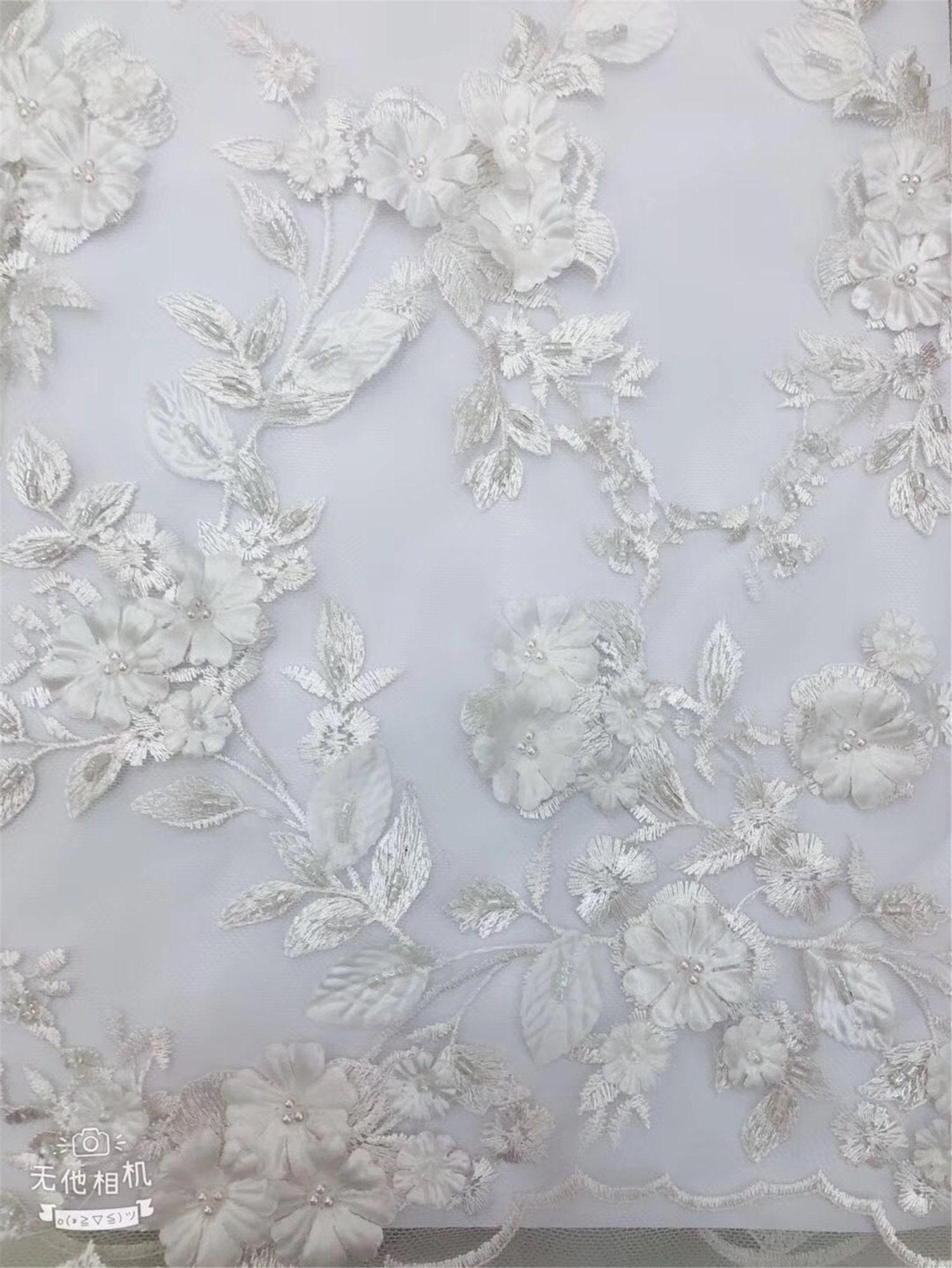 Vendu 5 yard yard yard en 2019 plus récent 4 couleurs 3D fleur mariée dentelle tissu élégant mariage 3D perles dentelle tissu guipure dentelle tissu ac06ff