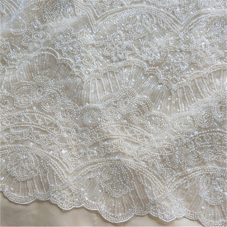Heavy Beads Lace Fabric for Wedding Dress Super Luxury 3D Beaded Lace Fabric Embroidery Tulle Lace Fabric By The yard