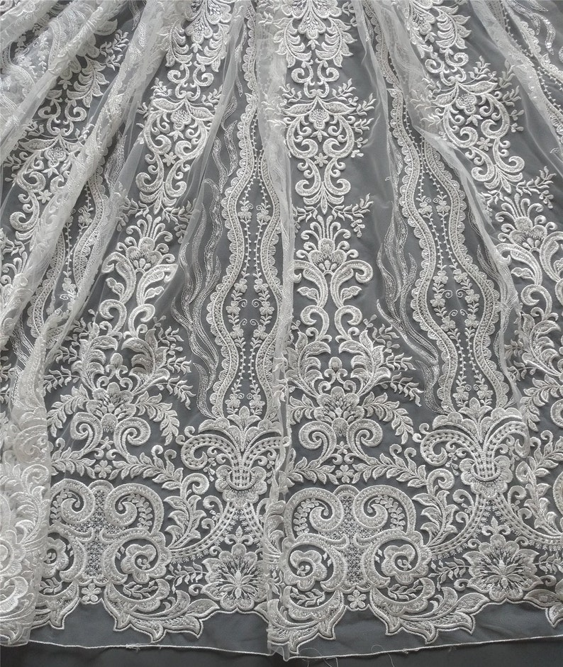 Bridal lace fabric sell at 5yards Unique emboidery lace fabric with sequins 7 colors Fashion 3D lace fabric