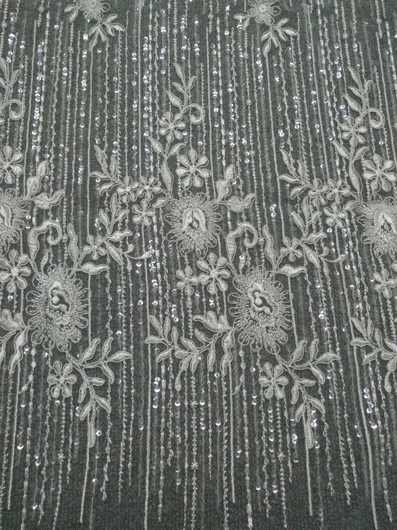 Floral Embroidery Sequins Lace Fabric wedding gown tulle lace fabric bridal dress lace fabric 1.5yard lenght