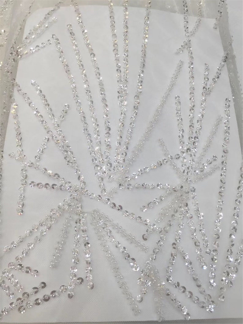 5yard 2019 Newest 6 color luxury beaded evening dress lace fabric Vintage sequins lace fabric for prom dress Haute custom fashion fabric