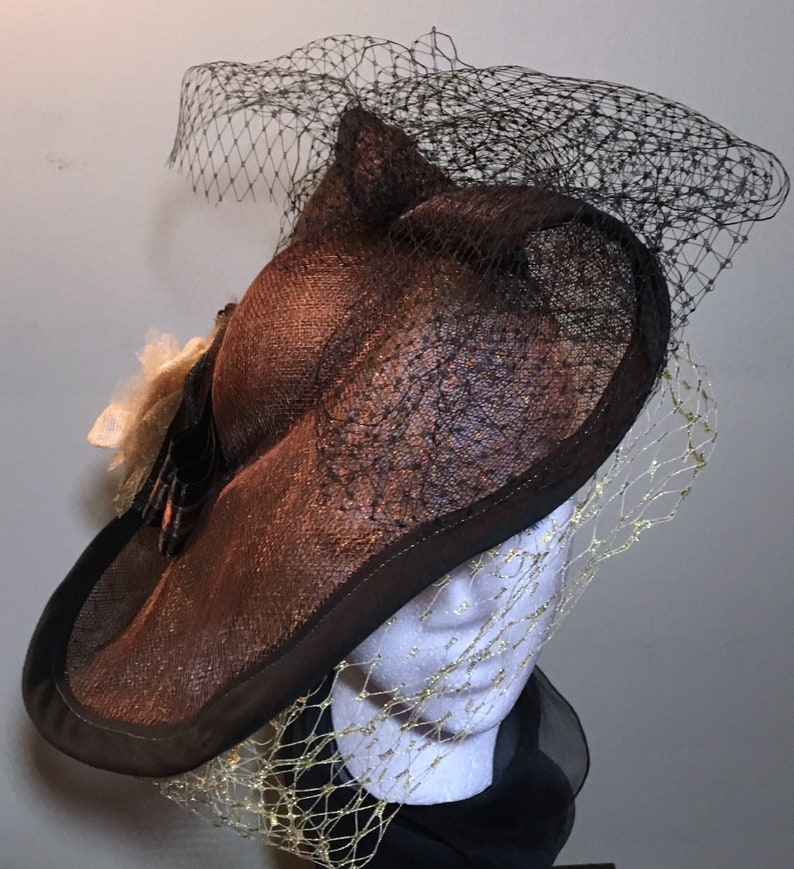 Chocolate Brown Fascinator with veil Clarent image 0