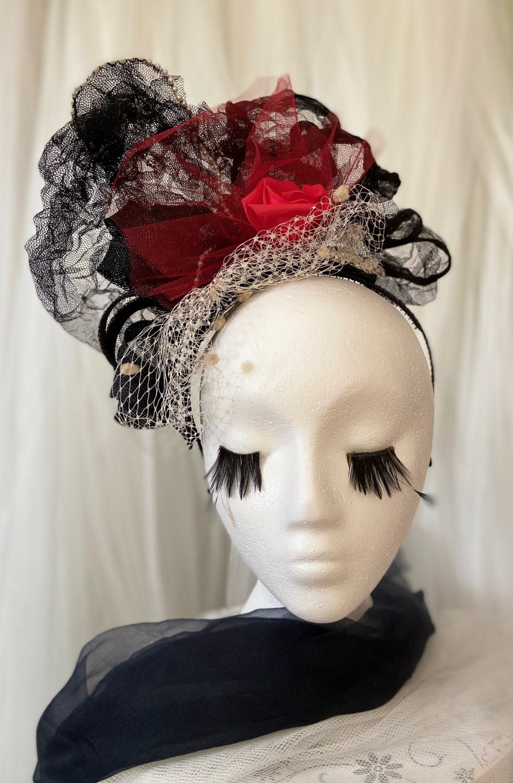 Striking Red and Black fascinator headband Michela image 0