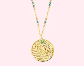 Palm Leaves with Amazonit Pearls - Chain