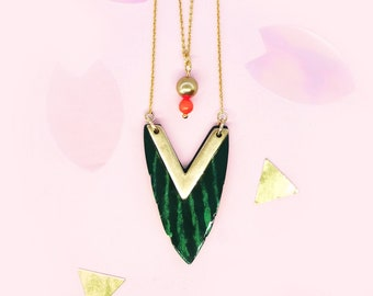 Triangle Tropic Leaf with neon pearl - chain