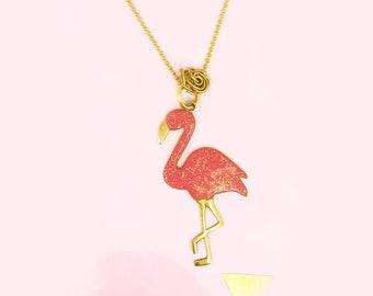 Coral Flamingo with Glitter - Chain