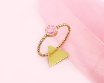 Sparkling pink cord ring - ring