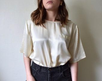 1bae52ac79ed Vintage White Striped Silky Blouse (Women's Size M-L)