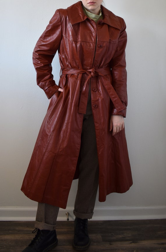 Vintage 70's Red Leather Trench Coat