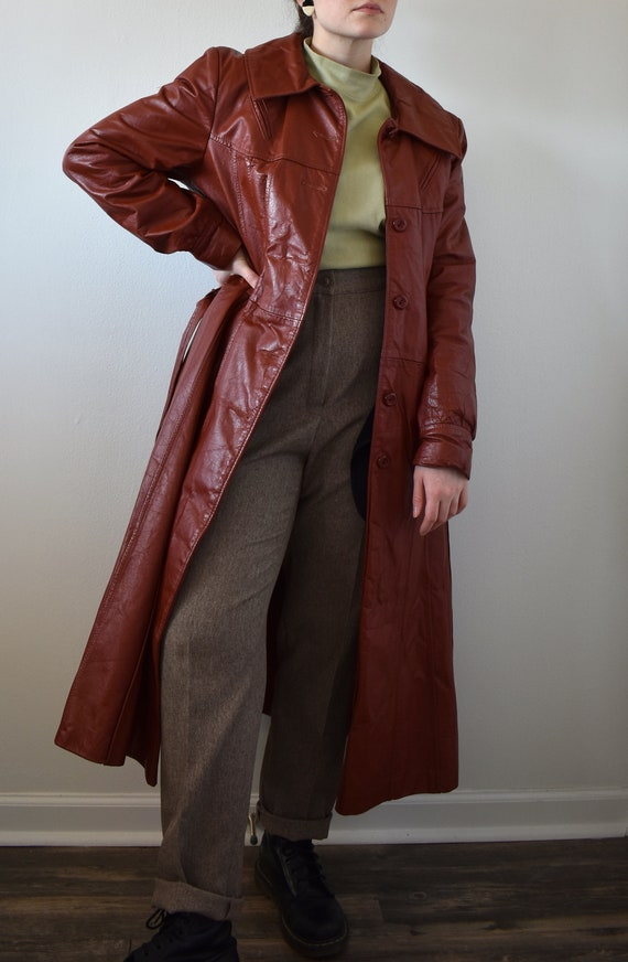 Vintage 70's Red Leather Trench Coat - image 6
