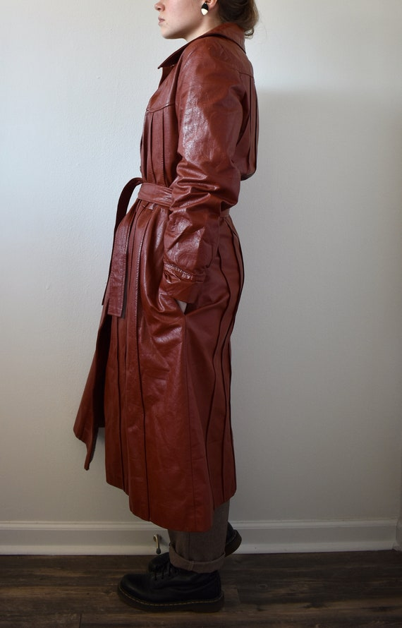 Vintage 70's Red Leather Trench Coat - image 4