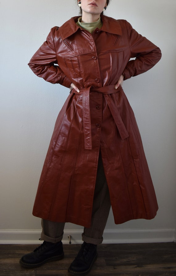 Vintage 70's Red Leather Trench Coat - image 2