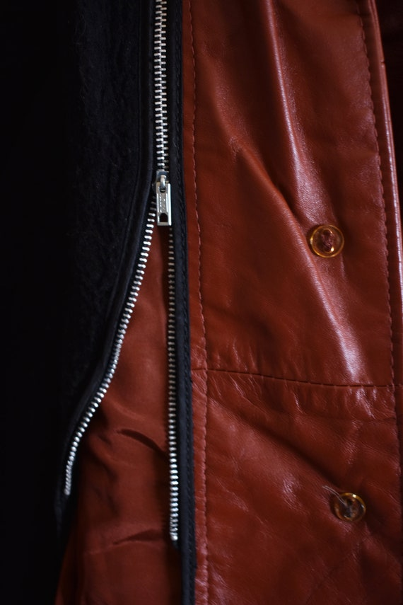 Vintage 70's Red Leather Trench Coat - image 9
