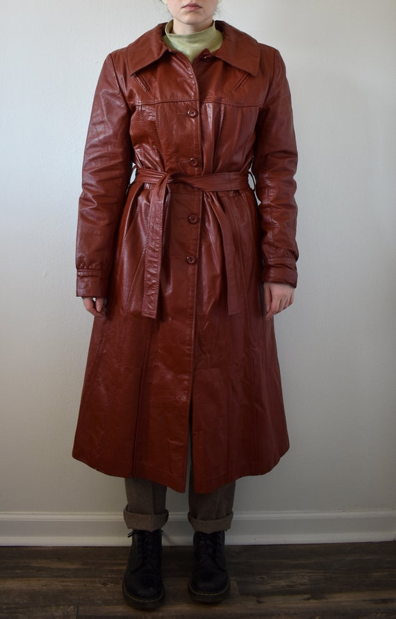 Vintage 70's Red Leather Trench Coat - image 3