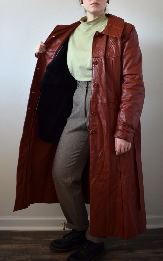 Vintage 70's Red Leather Trench Coat - image 7