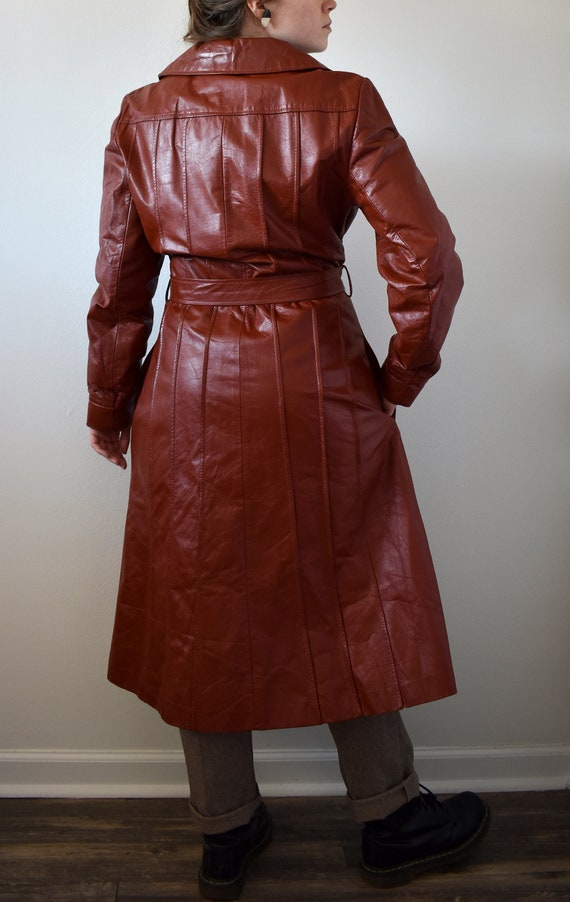 Vintage 70's Red Leather Trench Coat - image 5
