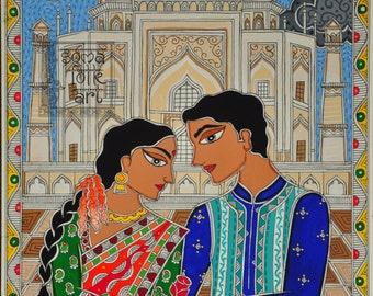 Print Madhubani painting Tajmahal Indian Wall decor