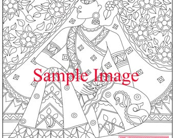 Coloring pages for adults. Digital coloring page. Flower Seller -Indian Madhubani Woman. Adult coloring page. Instant download
