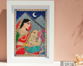 Print Durga/Parvati, Lord Ganesha Madhubani Painting Wall Decor