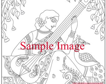Coloring pages for adults. Digital coloring page. Sitaar -Indian Madhubani Woman. Adult coloring page. Instant download