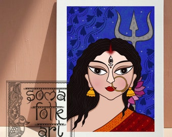 Print Durga Indian Folk Art Wall Decor