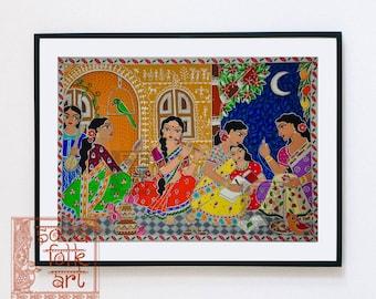 Print Madhubani Warli Artist Friends Indian Folk Wall Art
