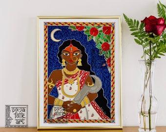 Print Madhubani Kali Indian Home Decor Wall Art
